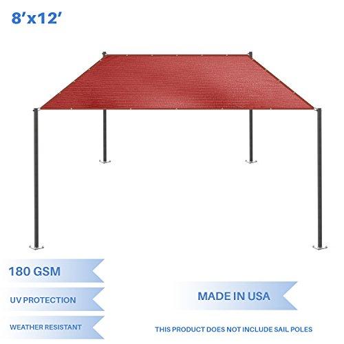 E K Sunrise 8 x 12 Sun Shade Sail-Red Straight Edge Rectangle UV Block Durable Awning Perfect for Canopy Outdoor Garden Backyard-180GSM-Customized