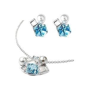 Blue Pearls Adorno: Pendientes Collar y aretes de perlas y Swarovski Elements Cubos - CRY E231-E329 J