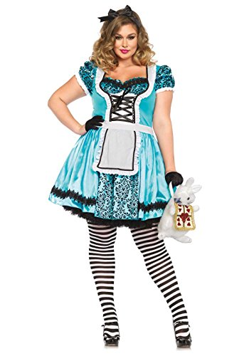 Leg Avenue Women's Plus-Size Looking Glass Alice Costume, Blue/Black, 1X (Sexy Mad Hatter Costumes)