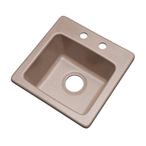 Desert Sand Granite - Dekor Sinks 27215Q Duxbury Composite Granite Prep Sink with Two Holes, 16