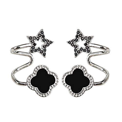 (Orris Sterling Silver Black Clover Style Ear Cuff Wrap Clip Stud Set Earring (For Pierced Ear))