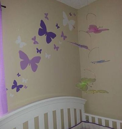 Butterfly Wall Decals- Girls Wall Stickers ~ Decorative Peel & Stick Wall Art Sticker Decals (Lilic,Lavender,White) by Create-A-Mural (Image #3)