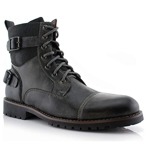 Polar Fox Patrick MPX808583 Mens Casual Cap Toe Buckle High-Top Motorcycle Work Biker Combat Boots Grey ()