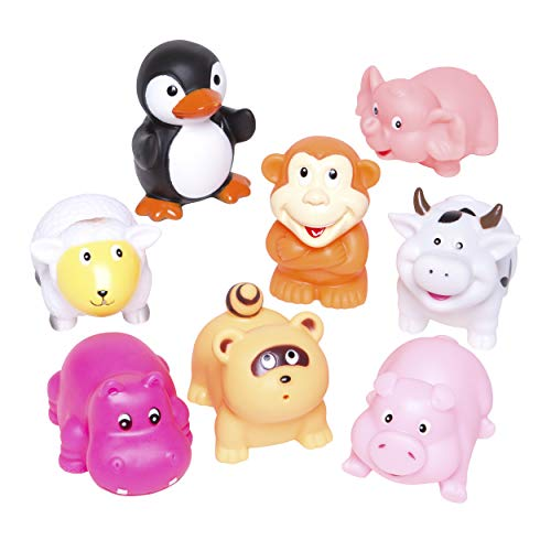 (Elegant Baby Bath Time Fun Rubber Water Squirties, Animal Party, Set of 8 Bath Squirt Toys)