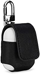 StilGut Custodia Apple AirPods in Vera Pelle con moschettone. Elegante Case in Pelle Pregiata per AirPod Case con moschettone, Nero Nappa