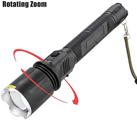 Ymiko Flashlight Rechargeable LED Torch Zoom Flashlight Wide Angle Lens Flashlight with LCD Screen Handheld Flashlight for Emergency, Camping, Hiking, Fishing