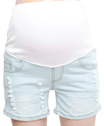 Crop Twill Maternity Pant (Bienvenu Women Summer Jeans for Pregnant Short Pants with Hole)