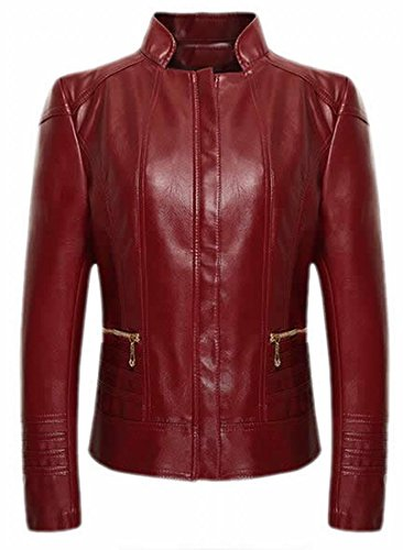ARRIVE GUIDE Women's Casual Solid Slim Stand Collar Zipper Leather Jacket Red XX-Large