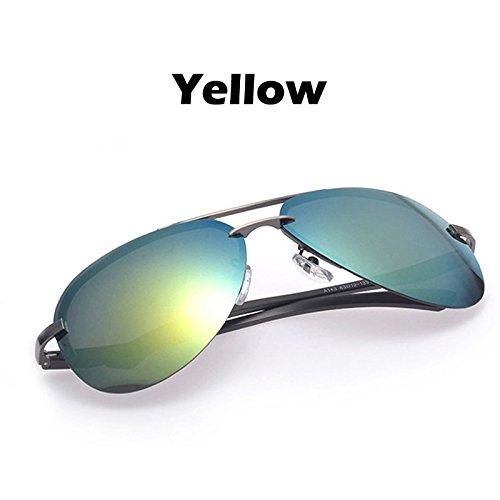 a gafas Oculos guiar gafas giallo 100 espejo lentes para de de los para UV400 gafas sol Estructura conductores hombres TIANLIANG04 plata Color Colore polarizado metal de los sol qtT0w18A