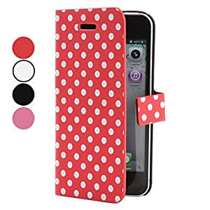 Buy Wave Point Pattern PU Leather Case for iPhone 5/5S (Assorted Colors) , Red