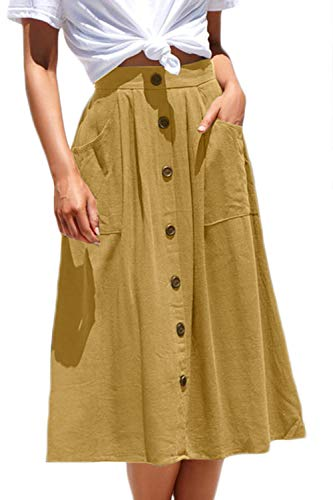 Meyeeka Women Button Front Midi Skirt for Christmas Solid Cotton Flare Knee Length Skirt M Yellow ()