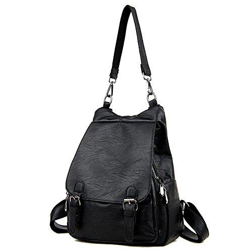 (JVP1062-B) bolso de gran capacidad de cuero natural de las mujeres para las niñas de moda bolso de la manera a prueba de agua lindo mochila ligera escuela Negro
