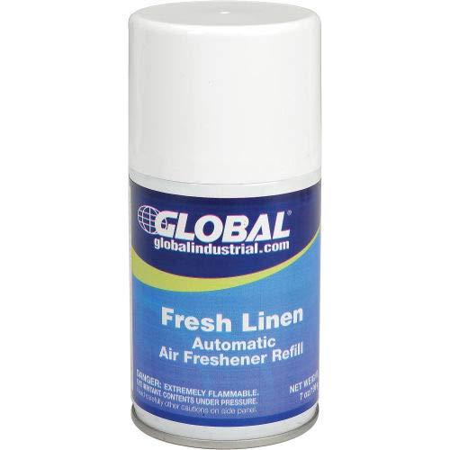 Global Industrial153; Automatic Air Freshener Refills, Fresh Linen 7 oz. Can - 12 Refills/Case