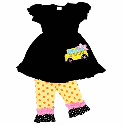 Unique Baby Girls Back to School Bus Tunic Boutique Outfit (8/XXXL, (Back To School Clothes For Girls)