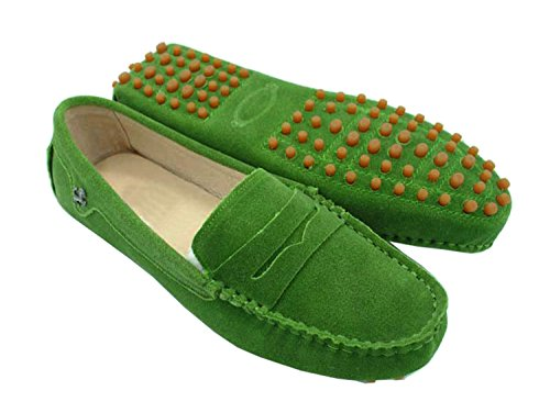 Minishion Girls Womens Casual Comfortable Grass Green Suede Leather Driving Moccasins Loafers Boat Shoes Flats 8 M US