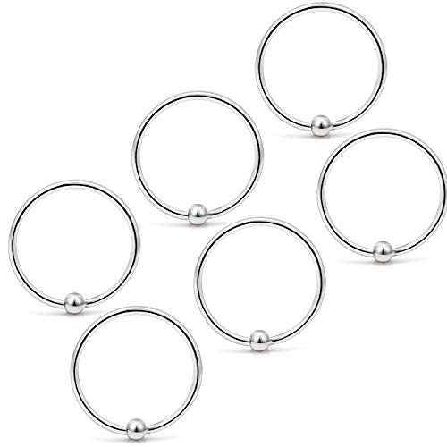 Yaalozei 6PCS 22G 8mm Stainless Steel Attached Captive Bead Nose Hoop Rings Eyebrow Cartilage Helix Hook Earring Septum Ring Piercing Jewelry for Men Women Silver