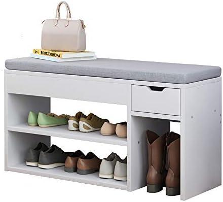 玄関ベンチ スツール 収納ベンチ 靴収納 ベンチ パッド入りシート付き玄関ベッドルームのために靴ストレージ組織ラックベンチ エントランスベンチ 省スペース (色 : As picture, サイズ : 80x24x45cm)