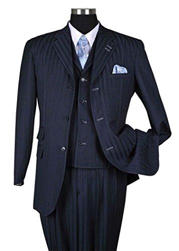 Milano Moda Fancy Stripe High Fashion Suit with Vest & Pants 5267-Navy-50L