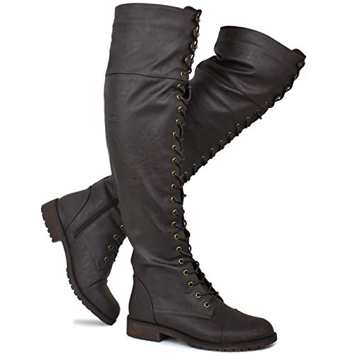 Premier Standard - Women's Lace Up Over Knee High Sexy Boots - Side Zipper Comfortable Walking Boots, TPS Boots-84Gul Brown Pu Size 8