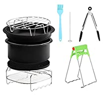 Hot Air Fryer Kits,7 Inch 12pcs Universal Air Fryer Kits with Cake Cup Cake Basket Accessories for Home Kitchen Outdoor Camping Travel Hiking Cooking Tool