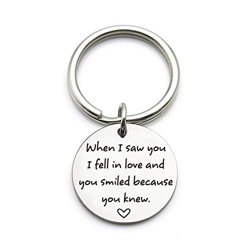 Xgakwd Romantic Valentines Day Anniversary Keychain Gift  When I Saw You I Fell In Love  Wedding Gifts