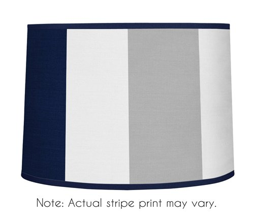 Sweet Jojo Designs Navy Blue and Gray Stripe Lamp Shade