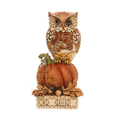 Enesco Jim Shore Heartwood Creek Harvest Owl on Pumpkin Figurine 6.1