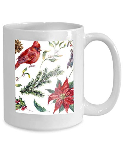 mug coffee tea cup watercolor christmas elements holly poinsettia pinecone spruce branch bird red cardinal 110z