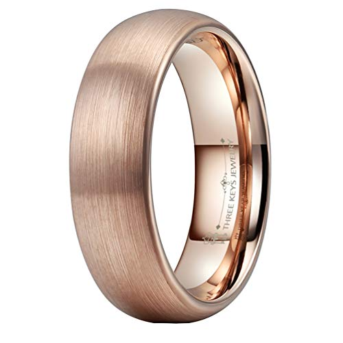 THREE KEYS JEWELRY 6mm Womens Tungsten Wedding Ring 18K Rose Gold Plated Brushed Wedding Band Engagement Ring Size 6.5