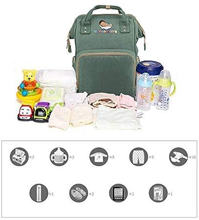 Wickelauflage 3 isolierte Taschen 2 Silikonl/ätzchen Green 2 Kinderwagenhaken Wasserdichtes Oxford-Gewebe Mamacadabra Baby Wickelrucksack Wickeltasche Mom-Rucksack Multifunktion