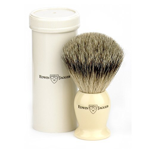 Edwin Jagger best badger travel brush with case, Ivory Imitation by Kaliandee