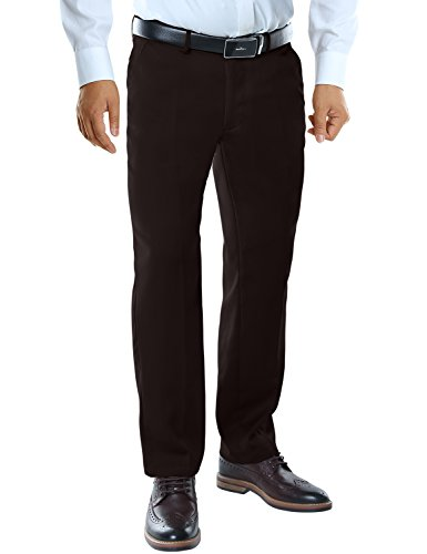 Match Mens Straight Fit No-iron Plain Front Dress Pants M2(38W x 32L, 8088 Dark coffee) - Men Formal Pants