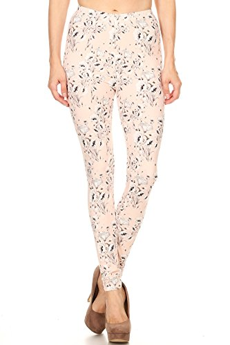 LA12ST Women's Pink Floral Printed Premium Ultra Soft Leggings Pink Floral Leggings