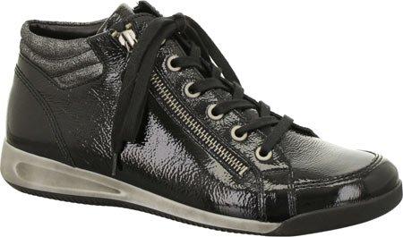 ara Women's Rylee Fashion Sneaker, Black Crinkle Patent, 9 M US