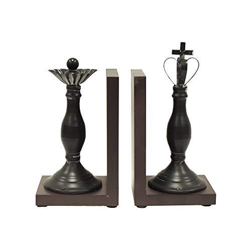 Benzara Royal Polystone Chess Bookend Polyresin