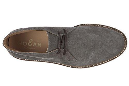 Bottes De Désert En Daim Hogan Hommes Lacets Bottines H322 Gris