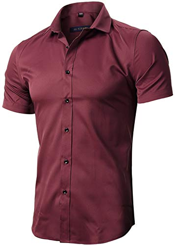 FLY HAWK Casual Fitted Collared Formal Short Sleeved Shirts for Mens, Burgundy, US XL