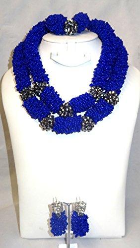 Prestigeapplause NEUF Motif 2couches Bleu roi fête mariage Perles Parure de bijoux avec
