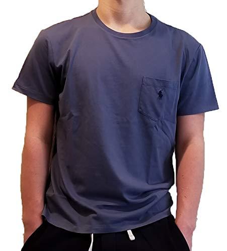 Polo Ralph Lauren Men's Classic Fit Pony Logo Short Sleeve Crewneck Front Patch Pocket T-Shirt (Small, Wild Blue)