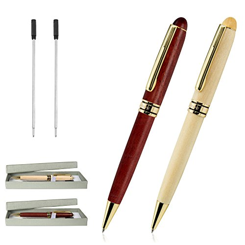 Ballpoint Pens, Cambond Gift Pen Set Natural Handcrafted Wood Rosewood Black Ink Ballpoint Pen Office Luxury Retractable Roller Ball Pens (1.0mm) Signature Executive Business for Men Women (2 Pack) (Wood Pens Handcrafted)