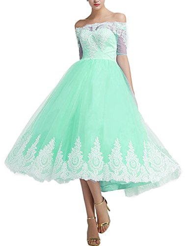 BRLMALL Off The Shoulder 1/2 Sleeves Prom Evening Formal Dress Tea Length Wedding Bridesmaid Dress Mint 26W