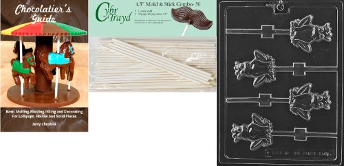 Cybrtrayd 'Frog Prince Lolly' Animal Chocolate Candy Mold with 50 4.5-Inch Lollipop Sticks and Chocolatier's Guide