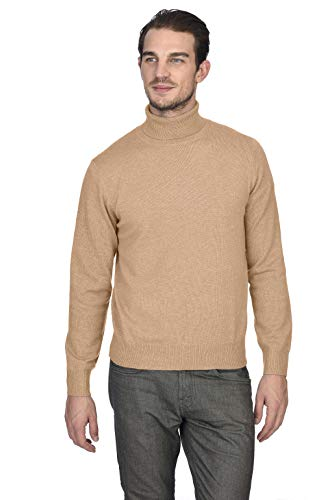 State Cashmere Men's 100% Pure Cashmere Turtleneck Long Sleeve Pullover Sweater (Small, Camel)