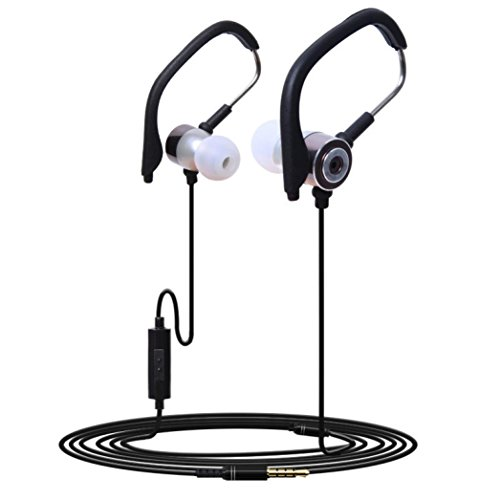 SUKEQ 3.5mm In Ear Earphone Anti-slip Clip On Sport Headphones with Mic Stereo Jogging Headset Build-in Microphone Wired Earbuds (Gray)