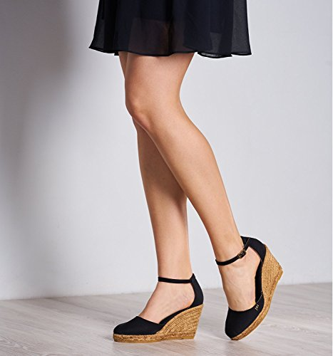Made 3 Spain with Noir Estartit Closed Canvas Comfort Toe inch VISCATA Espadrilles Heel Elegant Ankle in Strap OwvvqBU