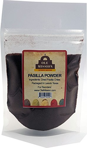 Pasilla Chili Powder 1.5 oz Ground Chile For Mole Sauce, Taco Seasoning, Tamales, Salsa, Chili, Meats, Soups, Stews by Ole Mission