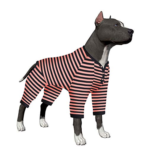 - LovinPet Big Dog Pajamas with 1mm Snap Button/Pink Black Stripe Dogs Shirt/4-Legs Design/Full Body Coverage Protection/for Big Dogs/Pitbull Shirt Dog Pajamas for Large Dogs