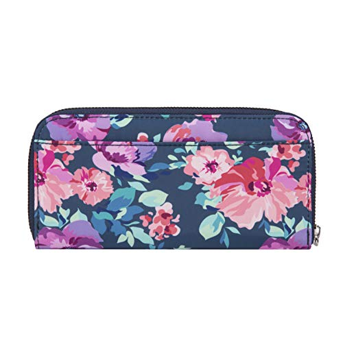 41N169J5YDL - Travelon RFID Blocking Single Zip Wallet, blossom Floral