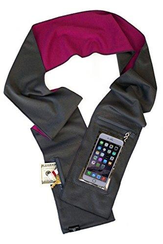 Peepsnake Smartphone Scarf for TALLER Phones- Touch Pocket- Back Camera Window- Grey Pink