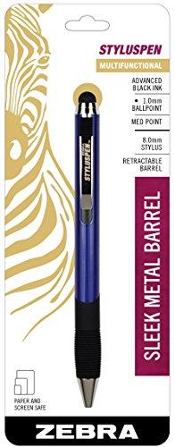Zebra StylusPen Retractable Ballpoint Pen, Medium Point, 1.0mm, Black Ink, Midnight Blue Barrel, 1-Count